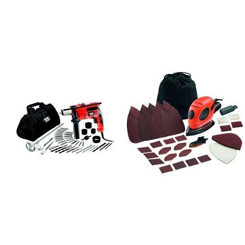 Black and Decker CD714CREW2-QS - 1Taladro percutor de 710W con 40 accesorios y bolsa de almacenaje. + KA161BC-QS - Lijadora de detalles (55 w, 230 v)