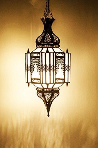 Orientalische Lampe Pendelleuchte Weiß Aariz 60cm E27 Lampenfassung | Marokkanische Design Hängeleuchte Leuchte aus Marokko | Orient Lampen für Wohnzimmer Küche oder Hängend über den Esstisch