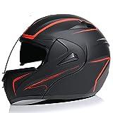 XRDSHY Casco de Motocicleta de Cara Completa, antirreflejos, Doble Visera, Modular de Cara Completa, para Hombres y Mujeres, Certificación Dot/ECE, Casco de Moto de Calle,Red A-M