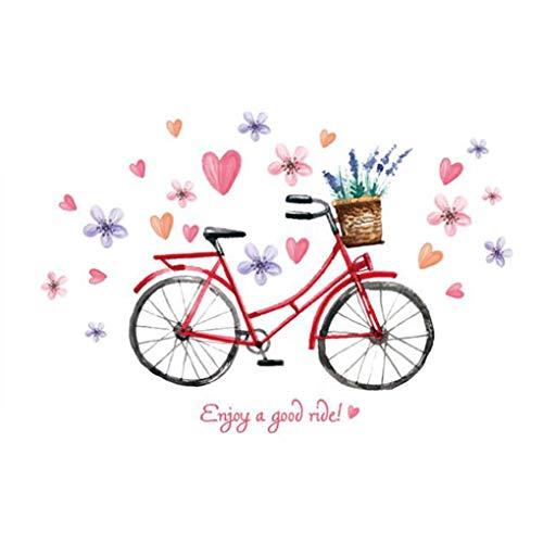 Bike Flowers Heart Shape Stickers muraux fond d'écran Home Decor bébé garçons filles enfants Chambre Décoration