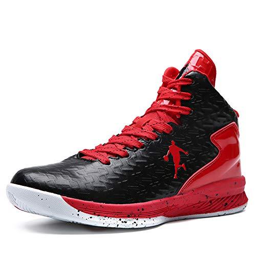 Herren Basketball Schuhe High Top Licht Dämpfung Anti Skid Atmungsaktive Outdoor Frau Kinder Sportschuhe Sneakers Schwarz Rot 0708 44EU