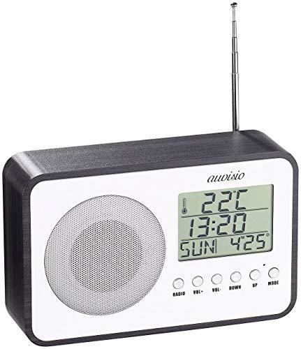 auvisio Radiowecker Batterie: Design-UKW-Radiowecker, Digitale Frequenzwahl, Netzteil, USB-Ladeport (Radio batteriebetrieben)