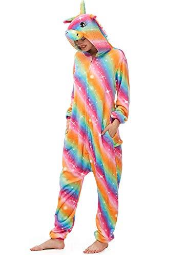 Amenxi Tier Onesie Pyjama Cosplay Kostüme Schlafanzug Erwachsene Unisex Animal Tieroutfit tierkostüme Jumpsuit Nachtwäsche (Color Einhorn, Körpergröße 155-165cm (M))