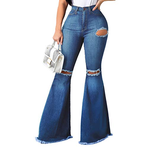 Bell Bottom Jeans for Women Elastic Skinny Ripped Hole Classic Denim Pants