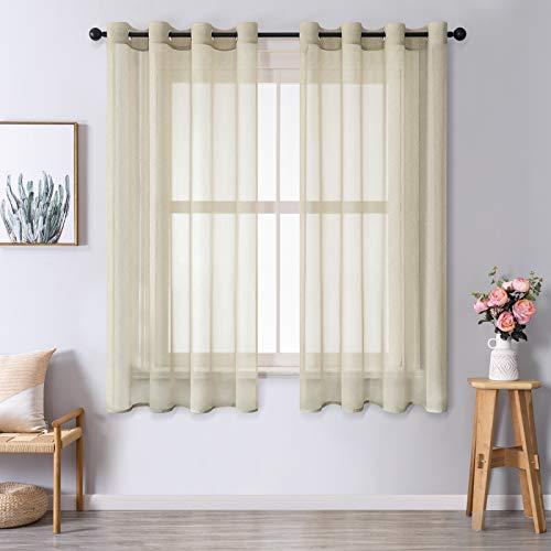 MRTREES Voile Gardinen Vorhang halbtransparent kurz mit Ösen in leinenoptik Stores Gardinen Schals für Wohnzimmer Schlafzimmer Kinderzimmer Beige 175×140cm (H×B) 2er Set