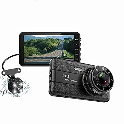 SPRIS CHEZAI Dash Cam 1080P 4-Inch IPS Full HD Car Front and Rear Dual Lens 170°Wide Angle, Loop Recording,G-Sensor,Motion and Parking Monitor by SPRIS