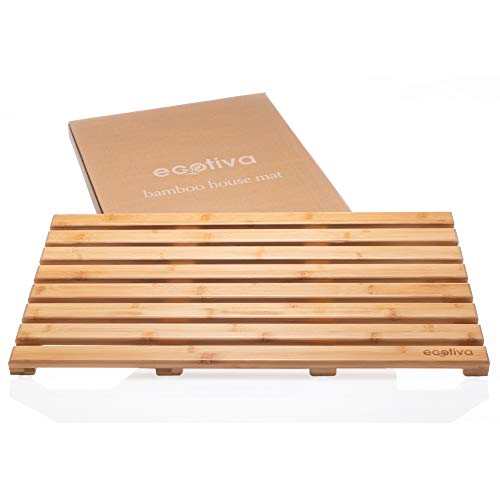 Eco Friendly Bamboo Bath Mat - Bamboo Shower Mat Packaged with Zero Plastic - Indoor/Outdoor Shower Mat - Engineered Safe, Extra Grooved Non-Slip Feet - Bamboo Floor Mat - Wood Bath Mat - Bamboo Mat