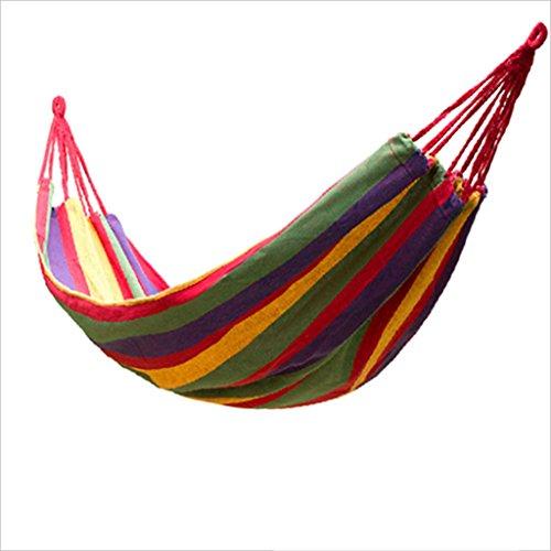JGWHW Extra große brasilianische Maya-Hängematte - Tragbare Einzel- oder Doppelhängematte - Handgefertigt aus 100% weicher Baumwolle (Tropical Multicolor) (Farbe : Rot)