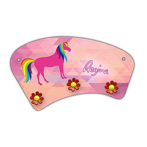 Wand-Garderobe mit Namen Regina und süßem Einhorn-Motiv für Mädchen - Garderobe für Kinder - Wandgarderobe