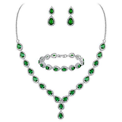 Clearine Damen Hochzeit Braut Tropfen CZ Unendlichekeit Figur 8 Y-Halskette Tennis Armband Dangle Ohrringe Set Smaragd-Farbe Silber-Ton