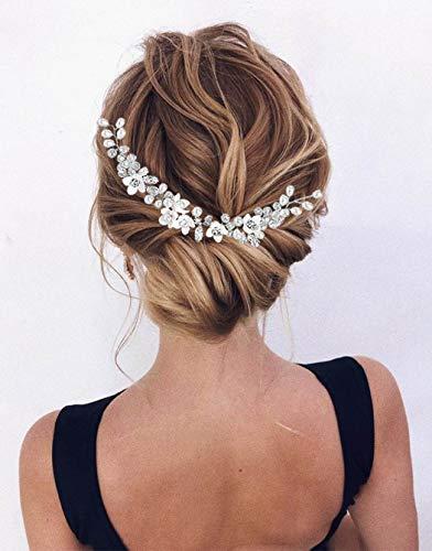 Zoestar Blumen-Braut-Haarschmuck mit silbernen Perlen, Kristall-Kopfschmuck, Brautschmuck, Perlen-Haarschmuck für Frauen und Mädchen
