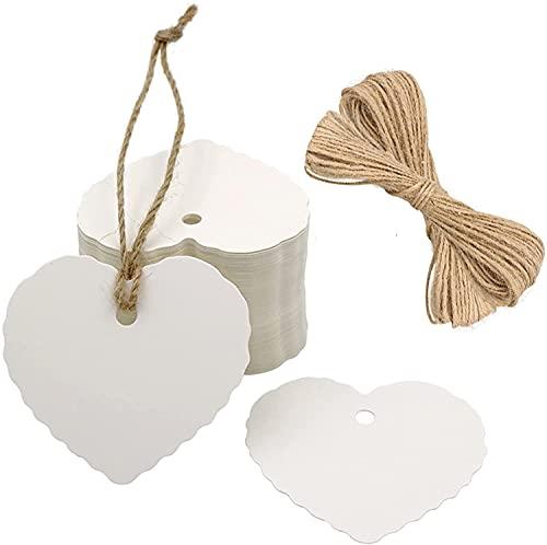 G2PLUS Valentinstag Geschenkanhänger 100Stk. kraftpapier Etiketten Tags Anhänger Etiketten mit Jute-Schnur(Weiß)