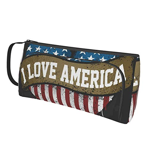 TYHG Large Capacity Pencil Case With Hand Band 3d I Love America Usa Flag Double Zipper Multi-Slot Portable Pen Bag For College Girl