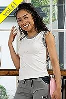 MIKANO ミカノ MIKALANCE ミカランセ 袖口ツイストデザイン&バックメッシュ切替タンクトップ(ラインストーン×スタースタッズ付) V61 61514【フィットネス ウェア ヨガ ダンス】ホワイト-フリー