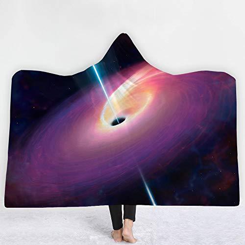 Mit Kapuze Decke Bademantel Erwachsene Kinder, Schwarzes Loch 3D Muster Weichem Plüsch Mantel Schal Decke zum Lesen Spielen Studing Fernsehen auf dem Bett oder Sofa,F1,150 * 200cm