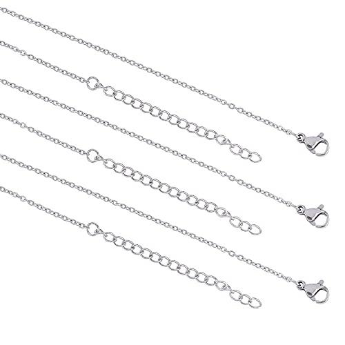 UNICRAFTALE 12pcs 40.5/60/80cm Collar de Cadena de Cable de Acero Inoxidable con Cierres de Garra de Langosta, Metal Unisex Estilo Casual Collares de Cadena Conjuntos de Collares de Cadena