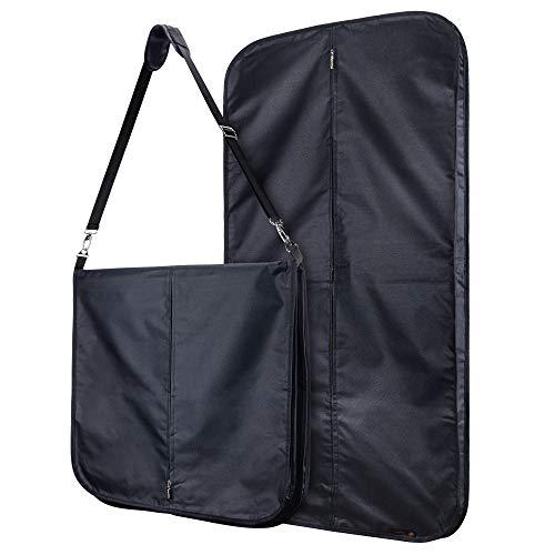 Hangerworld waterafstotende nylon kledingzak met schouderriem - zwart - 112 cm