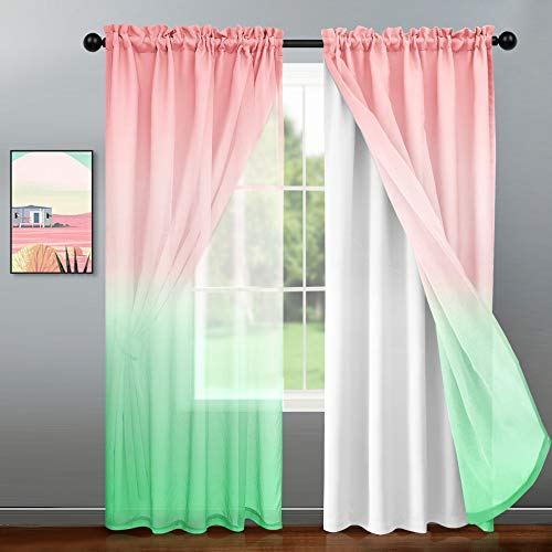 Joywell Mix & Match Blackout Curtains & Ombre Sheer Curtains, Thermal Insulated Room Darkening Drapes for Living Room, Bedroom, Girls Room Nursery Essential, Set of 2, Baby Pink & Aqua, 52 x 95 inch