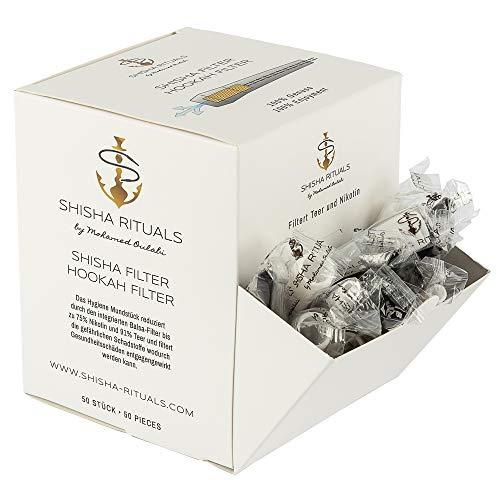 50 Shisha Filter | Shisha-Mundstück mit integriertem Filter aus Balsa-Holz, filtert Teer und Nikotin, natürliches Zubehör für Wasserpfeifen-Set, gesünderes Rauchen, weniger Risiken