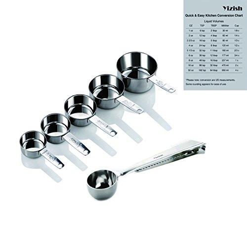 Yizish Edelstahl Messbecher und Scoop mit Clip, Küchenumrechnungstabelle 7er Set für Trockene und Flüssige Zutaten