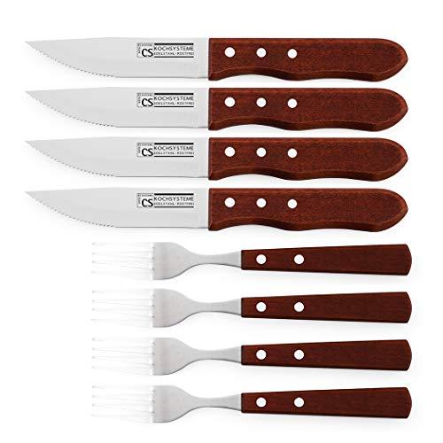 CARL SCHMIDT SOHN 8-teiliges Jumbo-Steakbesteck-Set BRÜHL 4 große Edelstahl Steakmesser + 4 große Steakgabeln mit Holzgriff