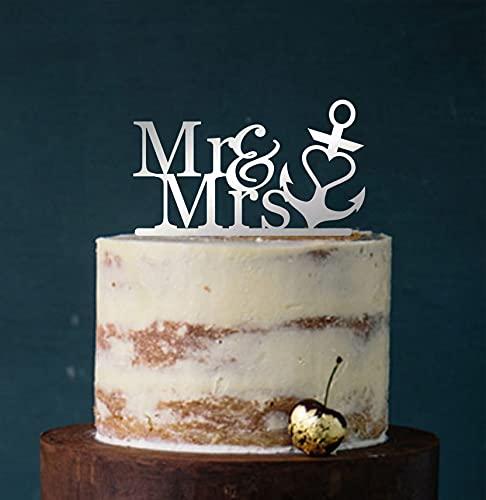edelstahlheini.de Cake Topper, Tortenstecker, Tortefigur Acryl, Farbwahl - Hochzeit Anker Mr & Mrs (Silber verspiegelt (Einseitig)) Art.Nr. 5009