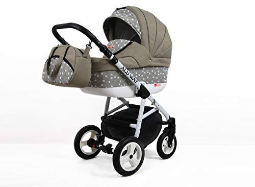 Kinderwagen Alu Way, 3 in 1 - Set Wanne Buggy Babyschale Autositz Khaki
