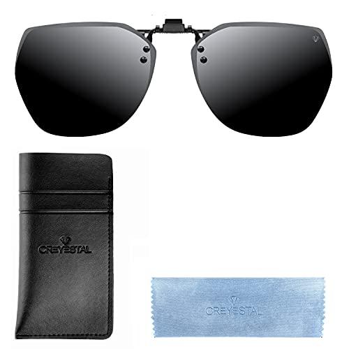 CREYESTAL Polarisiert Clip auf Sonnenbrillen, Sonnenbrille Aufsatz, Anhebbar und Ultraleicht , Herren, Damen 100% UV400, CE Zertifiziert