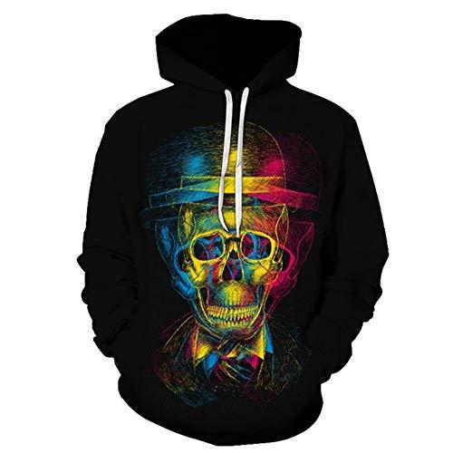 Hcxbb-16 3D Imprimer Sweat - Shirt Cosplay -Skull 3D Imprimé Hip HOP Sweats à Capuche Vestes Nouveauté Streetwear for Hommes Femmes Enfants Teenages (Color : A, Size : XL)