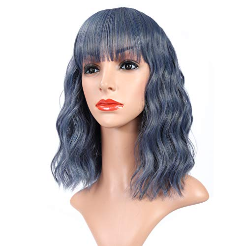 """Vroosar Natural Short Curly Bob Wig With Bangs Shoulder Length Wavy Women's Wig Synthetic Heat Resistant Cosplay Costume Pastel Wig For Girls -12"""",Mix Blue"""