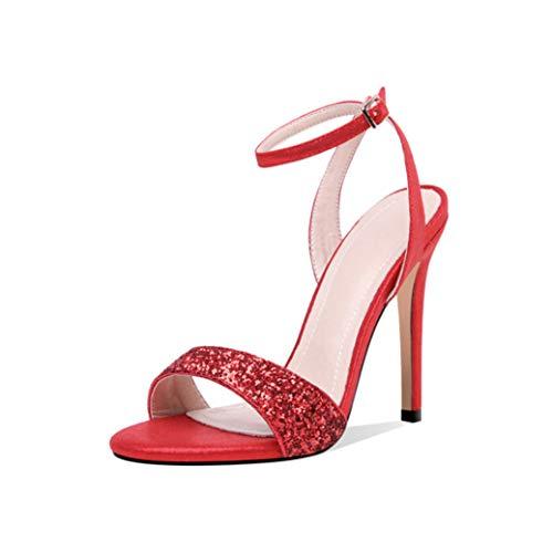 ANDERDM Women Sequin Sandals Buckle Solid Sexy Super High Heels Party Wedding Shoes