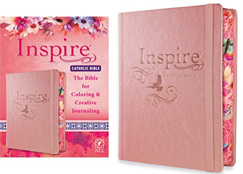 Tyndale NLT Inspire Catholic Bible (Hardcover, Rose Gold): Catholic Coloring Bible–Over 450 Illustrations to Color and Creative Journaling Bible Space, Religious Gifts That Inspire Connection with God