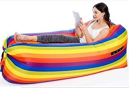 AHJSN Sofá Cama Perezoso Inflable Impermeable Rainbow Light Saco de Dormir Resistencia al desgarro Cama para Acampar
