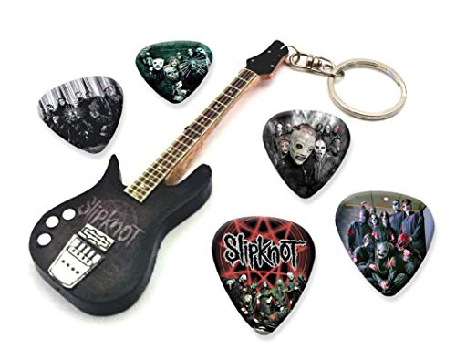 We Love Guitars Slipknot WKC 1 Mini-Gitarren-Keyring&5XPlektren