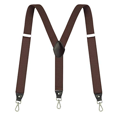 Suspenders for Men,Fowateda Adjustable Suspenders with Elastic Straps Y-Back Construction Heavy Duty for Work (Brown)