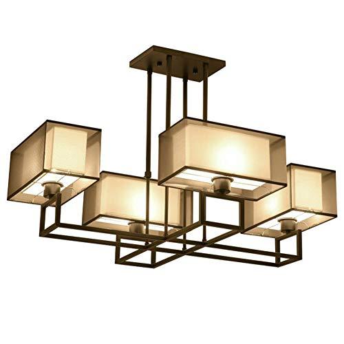 HENGXIAO Kronleuchter Lüster Hängeleuchte Lampe Deckenleuchte Deckenlampe-Eisen Kunst Tuch Im Chinesischen Stil Moderne Minimalistische Wohnzimmer Schlafzimmer Familie
