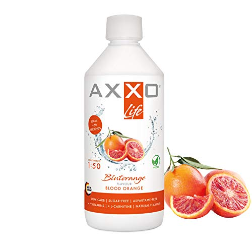 AXXO Life Blutorange - Getränkekonzentrat und Vitaminkonzentrat, 500 ml Flasche, Nahrungsergänzungsmittel für die ganze Familie mit 7 Vitaminen + Zink + L-Carnitin & Vegan