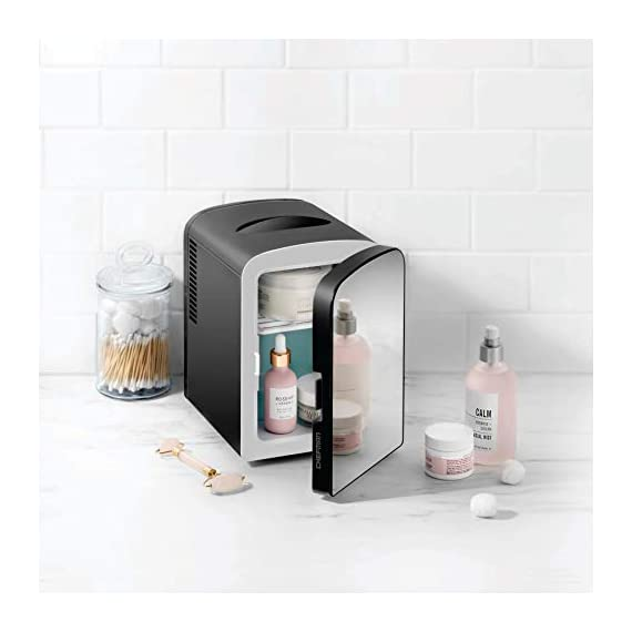 Chefman Portable Mirrored Personal Fridge 4 Liter Mini Refrigerator Skin Care, Makeup Storage, Beauty, Serums And Face… 8 MAKEOVER YOUR DESK: Compact design is perfect for storing your essentials at home, at work, in a dorm, or even on the go. Three chic color options and the mirrored door add an extra design flare to any space. Mirrored door makes this personal fridge the ideal accessory for your morning routine STORE COSMETICS BEAUTIFULLY: Extend the shelf life of your favorite skin care serums, cosmetic staples, or fresh face masks by keeping them chilled right on your vanity. Use the heat function to keep moist towels warm for a relaxing experience. CHILL OUT OR HEAT UP: Switch from heating to cooling at the flip of a switch. Keep your morning coffee warm or your afternoon smoothies chilled without ever leaving your desk. With 4-liter capacity, always keep up to 6 of your favorite 12 oz. canned beverages on hand.