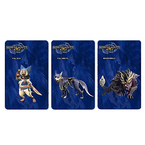 3 pcs Magnamalo NFC Amiibo Game Cards for Monster Hunter Rise Sinister Seal Layered Armor Set Palamute Palico Compatible with Switch