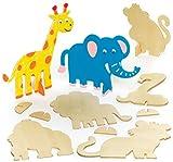 Baker Ross AR443 Animales de la Selva de Madera con Soporte que los Niños Pueden Crear, Decorar y Exhibir - Juego de Manualidades con Madera (pack de 10)