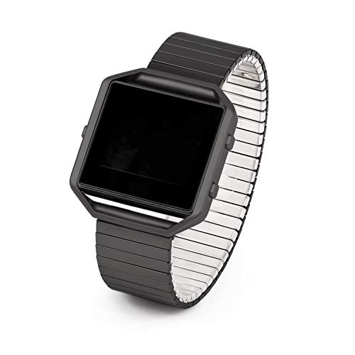 Twist-O-Flex Metal Expansion Black Stainless Steel Stretch Band Replacement for The Fitbit Blaze in a Size M by Speidel