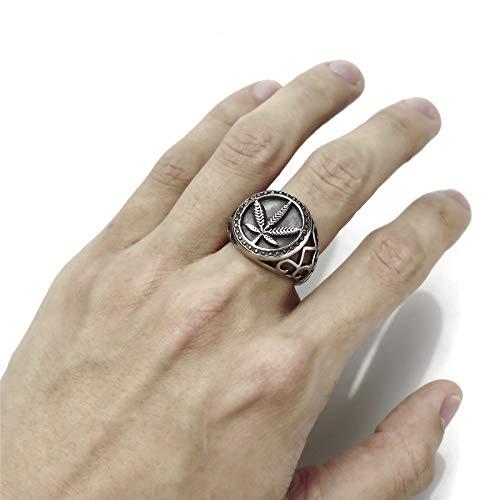 Feeyond Punk Gothic Hollow Design Round Maple Leaf Stamp Ring Retro Marijuana Leaf Finger Men Fashion Jewelry,12