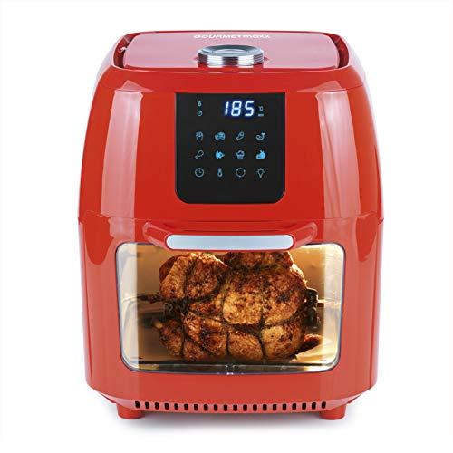 GOURMETmaxx Digitale XXL Heißluft-Fritteuse, Frittieren ohne Fett, 12 Liter Mini-Backofen mit Umluft, 1800 Watt, Hochwertiger Kunststoff/Edelstahl (Rot)