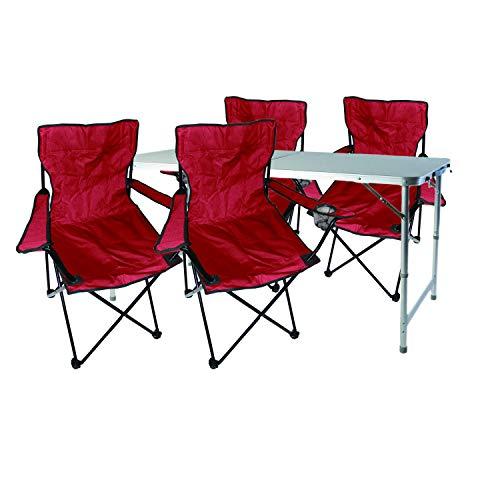 Mojawo 5tlg. Campingmöbel Set Alu 120x60x58/70cm 1x XXL Campingtisch höhenverstellbar mit Tragegriff + 4 Anglerstühle, Faltstühle rot