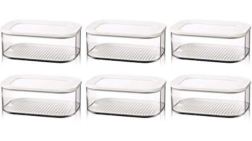 Rosti Mepal 6er Set Kühlschrankdose Modula Käse 2000 ml, Plastik, Weiß, 22.4 x 16 x 8.6 cm + Gratis 4er Set EKM Living Edelstahl Trinkhalme