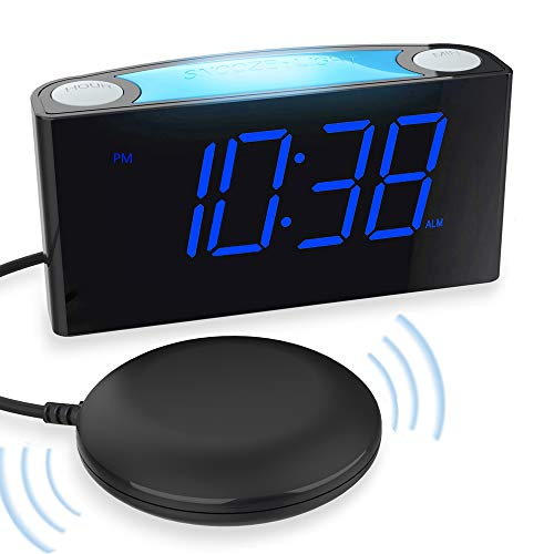 "Extra Loud Vibrating Alarm Clock with Bed Shaker for Heavy Sleepers, Digital Alarm Clock with Dual USB Charger for Deaf Hearing-Impaired, 7"" Display & Full Range Dimmer, Colored Light & Battery Backup"