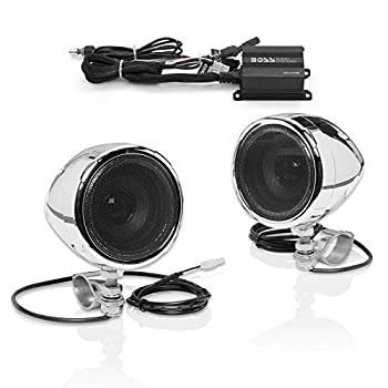 BOSS Audio Systems MC420B Motorcycle Speaker System – Class D Compact Amplifier 3 Inch Weatherproof Speakers Volume Control Great for ATVs Motorcycles and All 12 Volt Vehicles