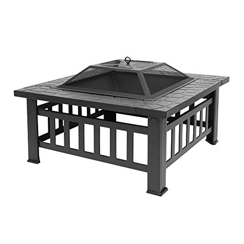 ZSZAUA Outdoor Fire Pit Table with Grill, Metal Square Firepits for Outside Backyard Garden Patio Stove Bonfire Heater/BBQ/Cooler/Poker, 32in Wood Burning Fireplace with Spark Screen,Black