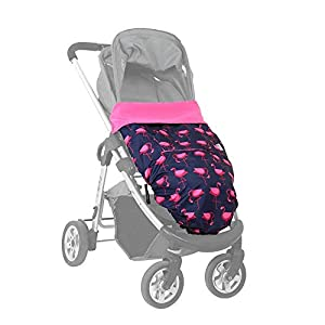 Universal Waterproof footmuff | car seat Cosy Toes | Carrier & Sling Cover | Compact for Travel | Also Opens Flat as Play mat | Universal fit and extends to fit All Ages newborn-4yrs (Navy Flamingo)