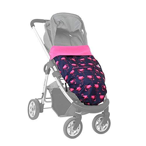 BundleBean - GO - Saco universal para cochecitos, sillas y portabebés - Impermeable - Diseño de flamencos